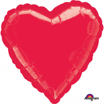 45cm Heart Red Foil Balloon (Self Sealing Balloon, Requires Helium Inflation) - Each