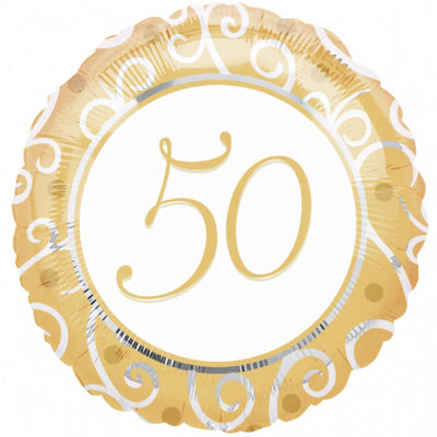 45cm 50th Anniversary Gold & Silver Filigree Foil Balloon (Self Sealing Balloon, Requires Helium Inflation) - Each