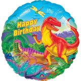 45cm Dinosaur Party Happy Birthday Foil Balloon (Self sealing balloon, Requires helium inflation) - Each