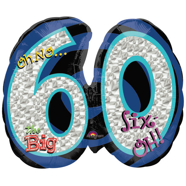 Shape Oh No! It's My Birthday 60 Holographic Foil Balloon 66cm x 53cm (Self sealing balloon, Requires helium inflation) - Each