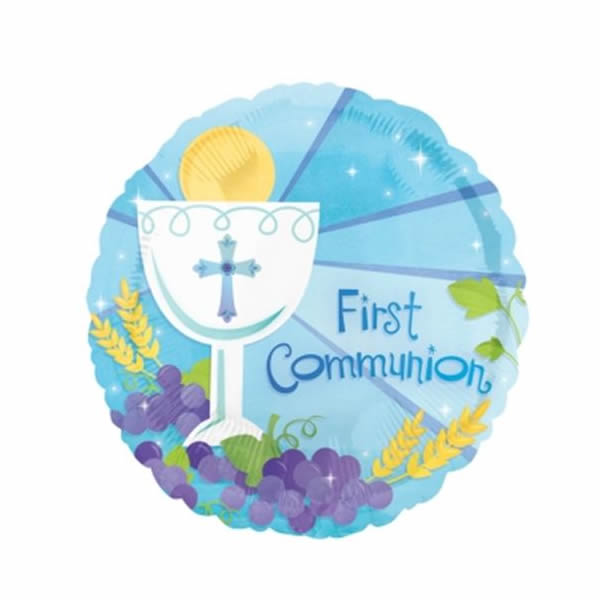 45cm First Communion Blue Foil Balloon (Self sealing balloon, Requires helium inflation) - Each