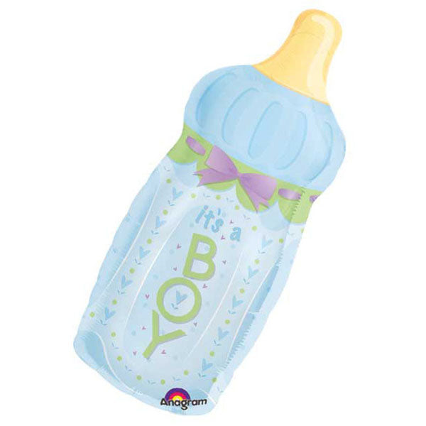 Shape It's A Boy Baby Bottle & Bow 33cm x 79cm Foil Balloon (Self sealing balloon, Requires helium inflation) - Each