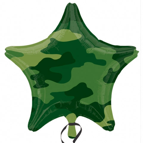 45cm Camouflage Star Foil Balloon (Self sealing balloon, Requires helium inflation) - Each