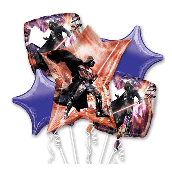 Star Wars Bouquet 1 x Super Shape & 4 x 45cm Foil Balloons (Self sealing balloons, requires helium inflation) - Pack of 5