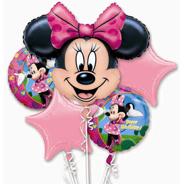 Minnie Mouse Bouquet 1 x Super Shape & 4 x 45cm Foil Balloons (Self sealing balloons, Requires helium inflation) - Pack of 5