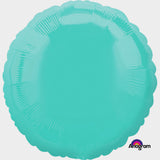 45cm Round Caribbean Blue Foil Balloon (Self Sealing Balloon, Requires Helium Inflation) - Each