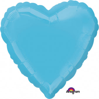 45cm Heart Caribbean Blue (Self Sealing Balloon, Requires Helium Inflation) - Each
