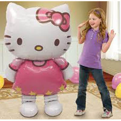 Airwalker Hello Kitty 76cm x 127cm Foil Balloon (Self sealing balloon, Requires helium inflation) - Each