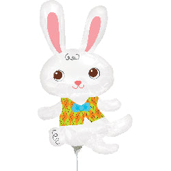 Mini Shape Easter Bunny & Vest (Inflated) Foil Balloon (Supplied air-filled on balloon cup & stick) - Each