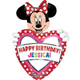 Shape Minnie Birthday Dots, Personalise Stickers Included 60cm x 83cm Foil Balloon (Self sealing balloon, requires helium inflation) - Each
