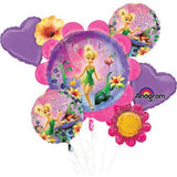 Tinker Bell Bouquet 1 x Super Shape & 4 x 45cm Foil Balloons (Self sealing balloons, Requires Helium inflation) - Pack of 5