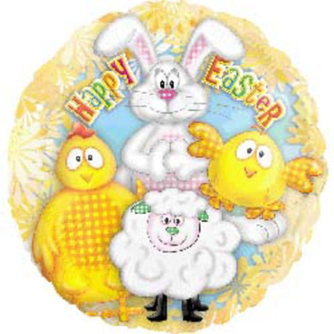 45cm Easter Animals Foil Balloon (Self sealing balloon, Requires helium inflation) - Each