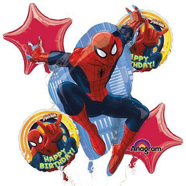 Spiderman Bouquet 1 x Super Shape & 4 x 45cm Happy Birthday Foil Balloons (Self sealing balloons, Requires helium inflation) - Pack of 5