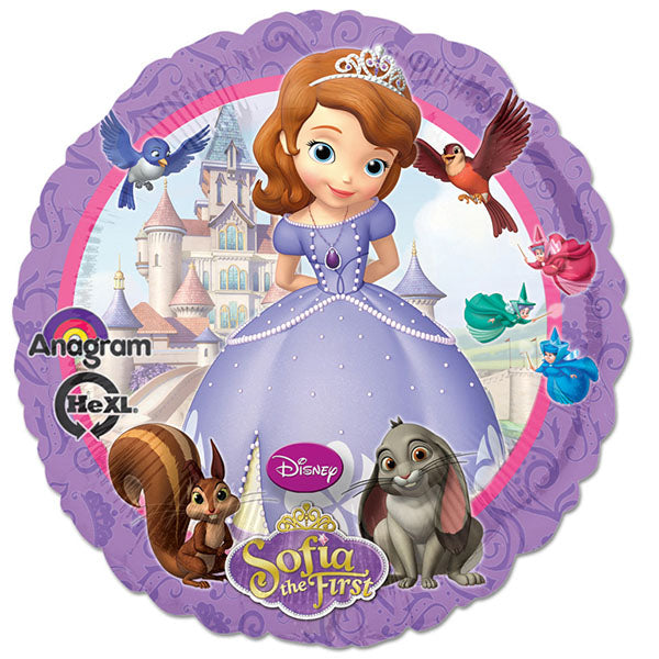 45cm Sofia The First Non Message Foil Balloon (Self sealing balloon, Requires Helium inflation) - Each