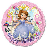 45cm Sofia The First Happy Birthday Foil Balloon (Self sealing balloon, Requires Helium inflation) - Each