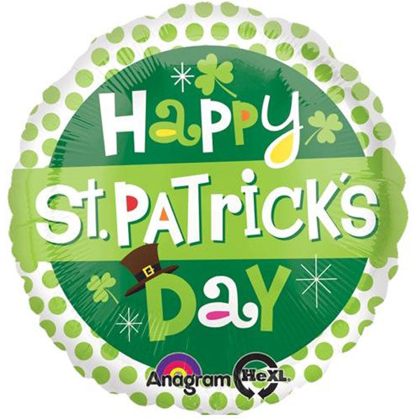 45cm Happy St Patricks Day Dots Foil Balloon (Self sealing balloon, requires helium inflation) - Each