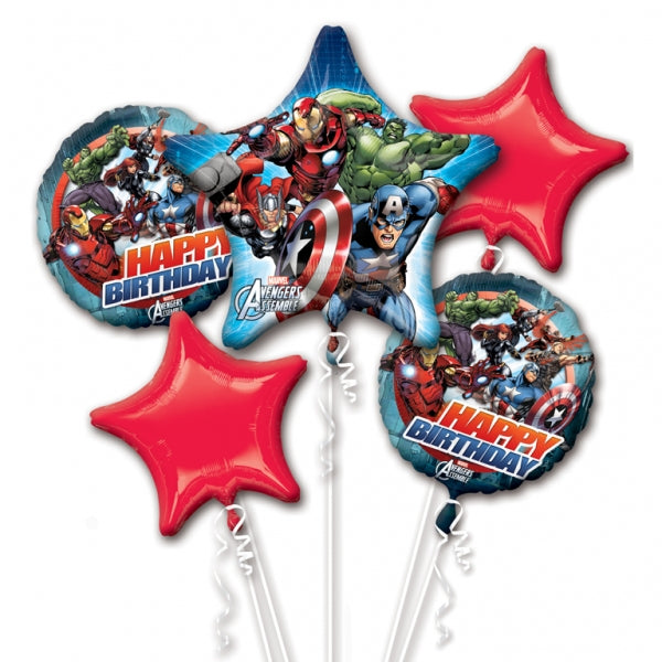 Avengers Bouquet 1 x Super Shape & 4 x 45cm Happy Birthday Foil Balloons (Self sealing balloons, Requires helium inflation) - Pack of 5
