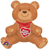 Shape Sitting Valentine's Bear - Great Gift Idea 48cm x 43cm Foil Balloon (Air Fill Only-Straw provided) So Cute!! - Each