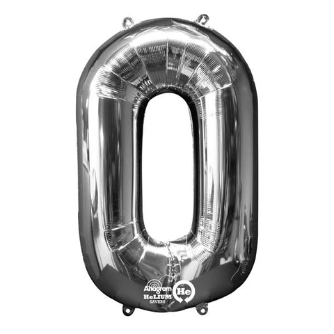 Shape Number Zero Silver,  Helium Saver (86cm High) Foil Balloon Self seal Balloon, air-filled or Helium filled) - Each