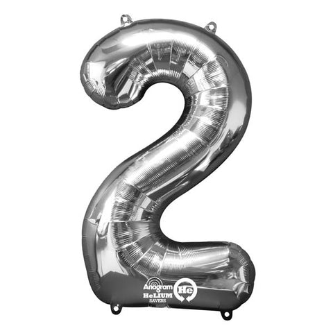Shape Number Two Silver, Helium Saver (86cm High) Foil Balloon Self seal Balloon, air-filled or Helium filled) - Each