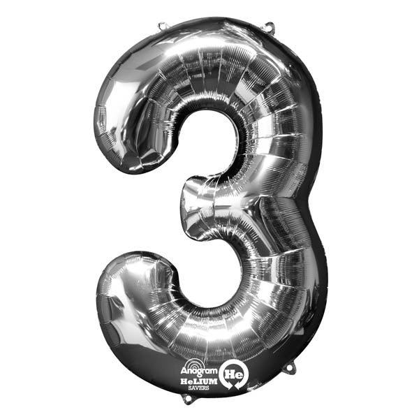 Shape Number Three Silver, Helium Saver (86cm High) Foil Balloon Self seal Balloon, air-filled or Helium filled) - Each