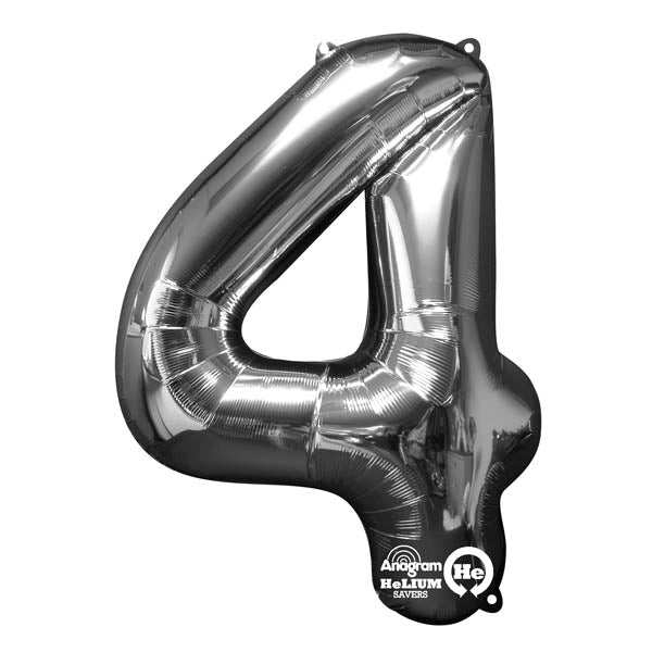 Shape Number Four Silver, Helium Saver (86cm High) Foil Balloon Self seal Balloon, air-filled or Helium filled) - Each
