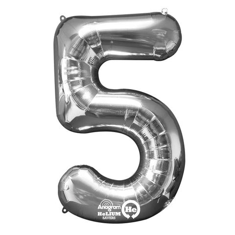 Shape Number Five Silver, Helium Saver (86cm High) Foil Balloon Self seal Balloon, air-filled or Helium filled) - Each