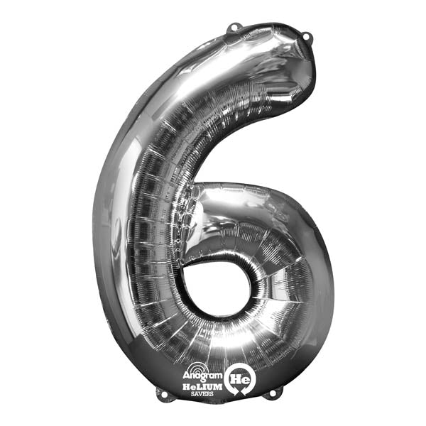 Shape Number Six Silver, Helium Saver (86cm High) Foil Balloon Self seal Balloon, Air-filled or Helium filled) - Each
