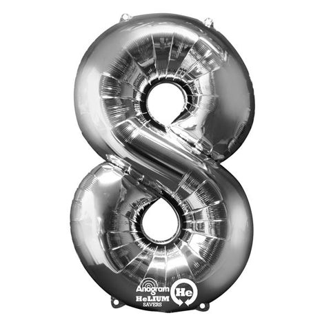 Shape Number Eight Silver, Helium Saver (86cm High) Foil Balloon Self seal Balloon, Air-filled or Helium filled) - Each