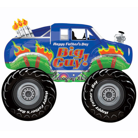 Shape Happy Father's Day Monster Truck 78cm x 58cm Foil Balloon (Self sealing balloon, Requires helium inflation) - Each