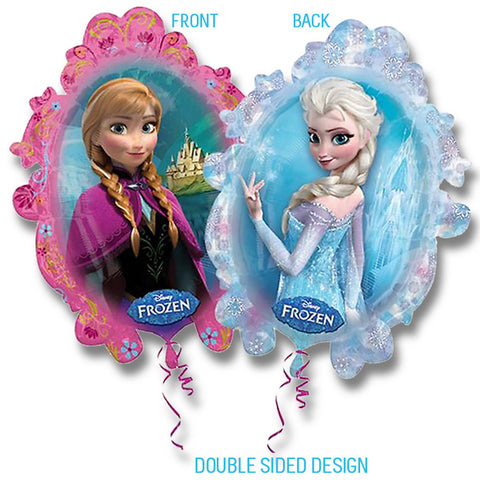 Shape Frozen (2 sided design Elsa and Anna) 63cm x 78cm Foil Balloon (Self sealing balloon, requires helium inflation) - Each