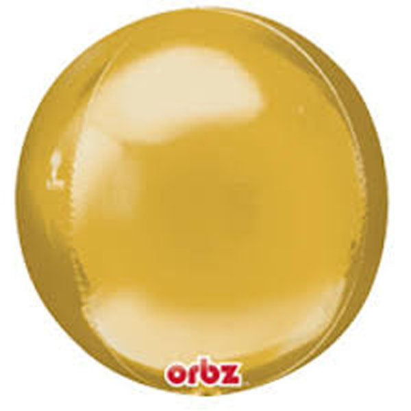 Shape Orbz Gold 38cm x 40cm Foil Balloon (Self sealing balloon, Requires helium inflation)