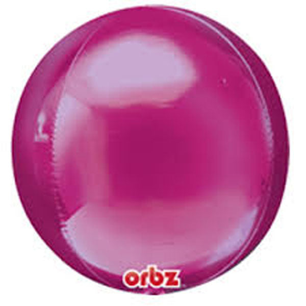 Shape Orbz Bright Pink 38cm x 40cm Foil Balloon (Self sealing balloon, Requires helium inflation)