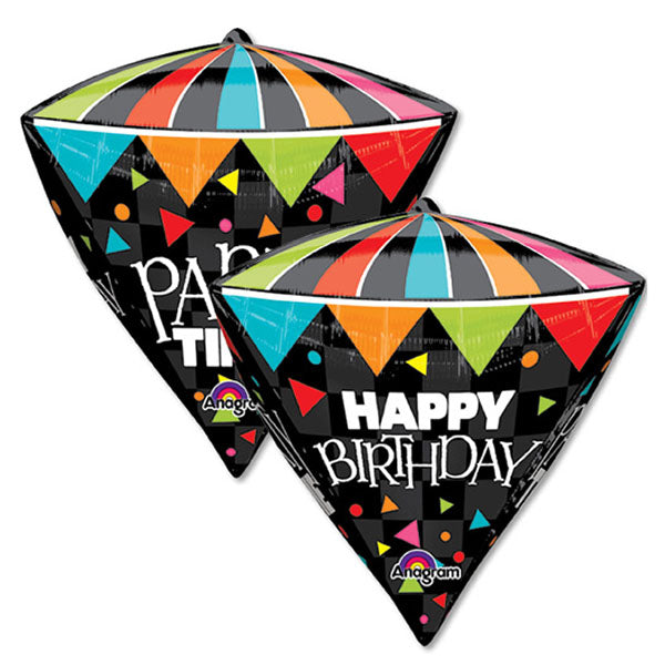 Shape Diamondz Happy Birthday Party Time 40cm x 43cm Foil Balloon (Self sealing balloon, Requires helium inflation) - Each