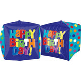 Shape Cubez Blue 38cm x 38cm Foil Balloon (Self Sealing balloon, Requires helium inflation) - each