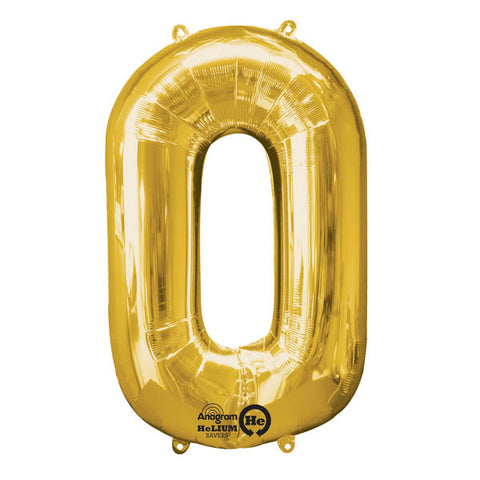 Shape Number Zero Gold Helium Saver (86cm High) Foil Balloon Self seal Balloon, Air-filled or Helium filled) - Each