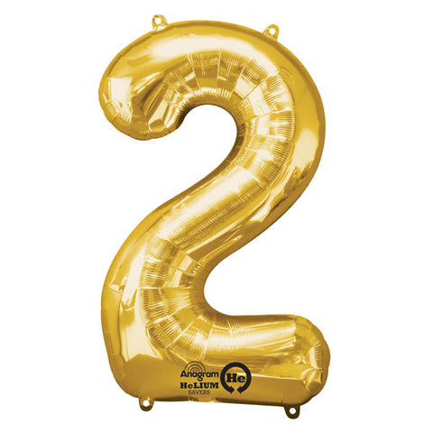 Shape Number Two Gold, Helium Saver (86cm High) Foil Balloon Self seal Balloon, Air-filled or Helium filled) - Each