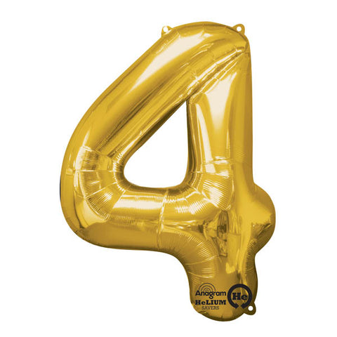 Shape Number Four Gold, Helium Saver (86cm High) Foil Balloon Self seal Balloon, Air-filled or Helium filled) - Each