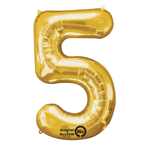 Shape Number Five Gold, Helium Saver (86cm High) Foil Balloon Self seal Balloon, Air-filled or Helium filled) - Each