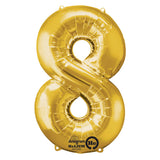 Shape Number Eight Gold, Helium Saver (86cm High) Foil Balloon Self Sealing,  Air Filled or Helium Filled) - Each