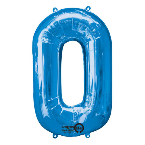 Shape Number Zero Blue, Helium Saver (86cm High) Foil Balloon Self Sealing,  Air Filled or Helium Filled) - Each