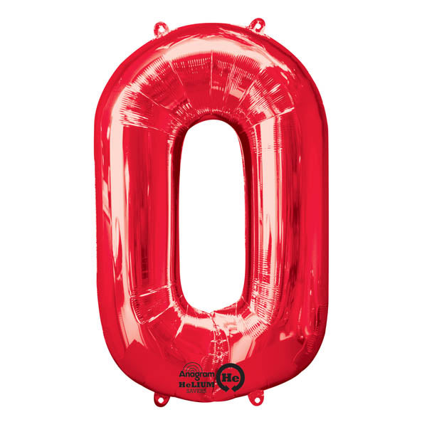 Shape Number Zero Red, Helium Saver (86cm High) (Foil Balloon Sealf Sealing Balloon, Air Filled or Helium Filled) - Each