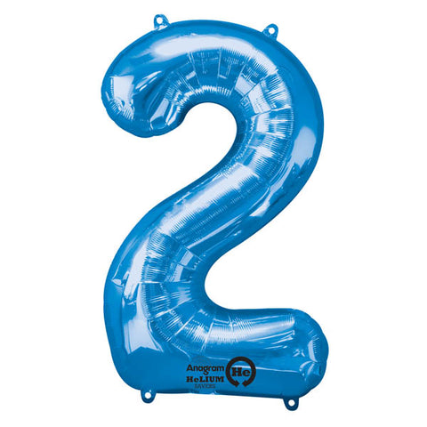 Shape Number Two Blue, Helium Saver (86cm High) Foil Balloon Self Sealing,  Air Filled or Helium Filled) - Each