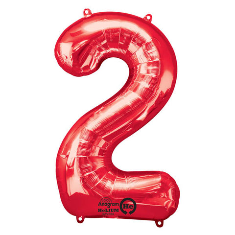 Shape Number Two Red, Helium Saver (86cm High) (Foil Balloon Sealf Sealing Balloon, Air Filled or Helium Filled) - Each