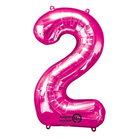 Shape Number Two Pink, Helium Saver (86cm High) (Foil Balloon Sealf Sealing Balloon, Air Filled or Helium Filled) - Each