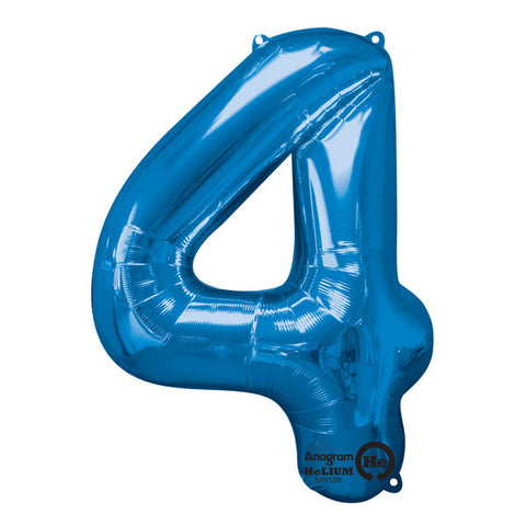 Shape Number Four Blue, Helium Saver (86cm High) Foil Balloon Self Sealing,  Air Filled or Helium Filled) - Each