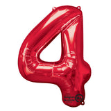 Shape Number Four Red, Helium Saver (86cm High) (Foil Balloon Sealf Sealing Balloon, Air Filled or Helium Filled) - Each