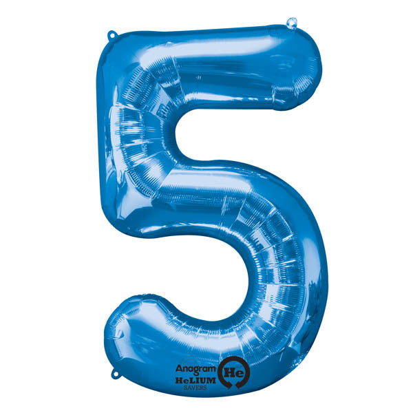 Shape Number Five Blue, Helium Saver (86cm High) Foil Balloon Self Sealing,  Air Filled or Helium Filled) - Each