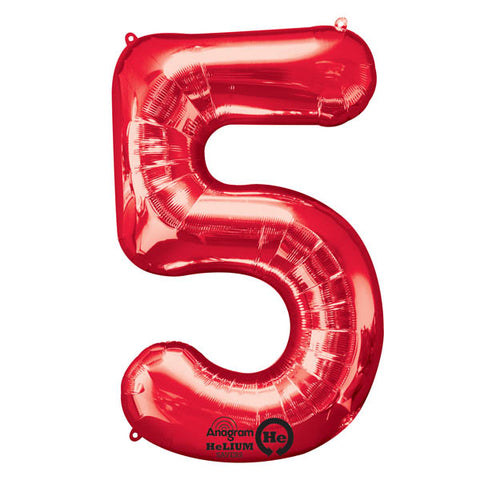 Shape Number Five Red, Helium Saver (86cm High) (Foil Balloon Sealf Sealing Balloon, Air Filled or Helium Filled) - Each