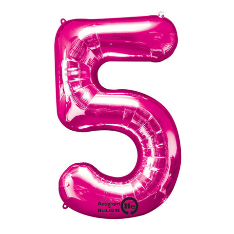 Shape Number Five Pink, Helium Saver (86cm High) (Foil Balloon Sealf Sealing Balloon, Air Filled or Helium Filled) - Each